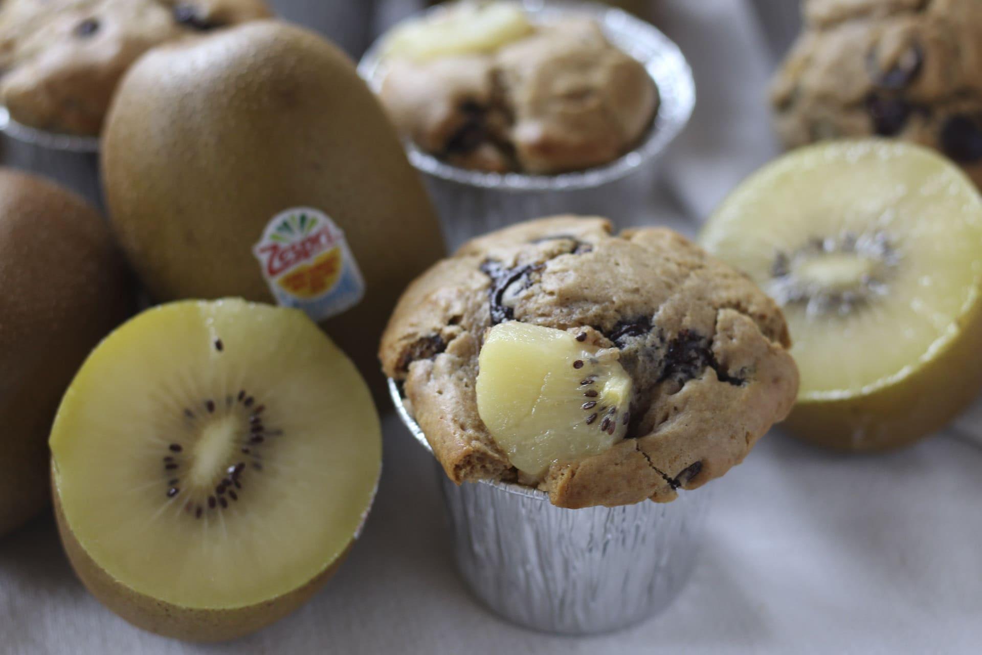 Muffins de kiwi Zespri Sungold y chocolate